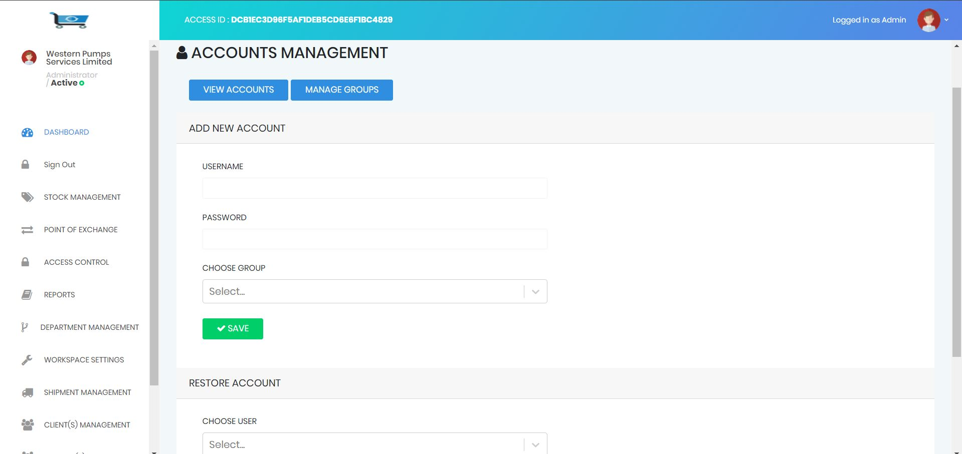 inventory Account management